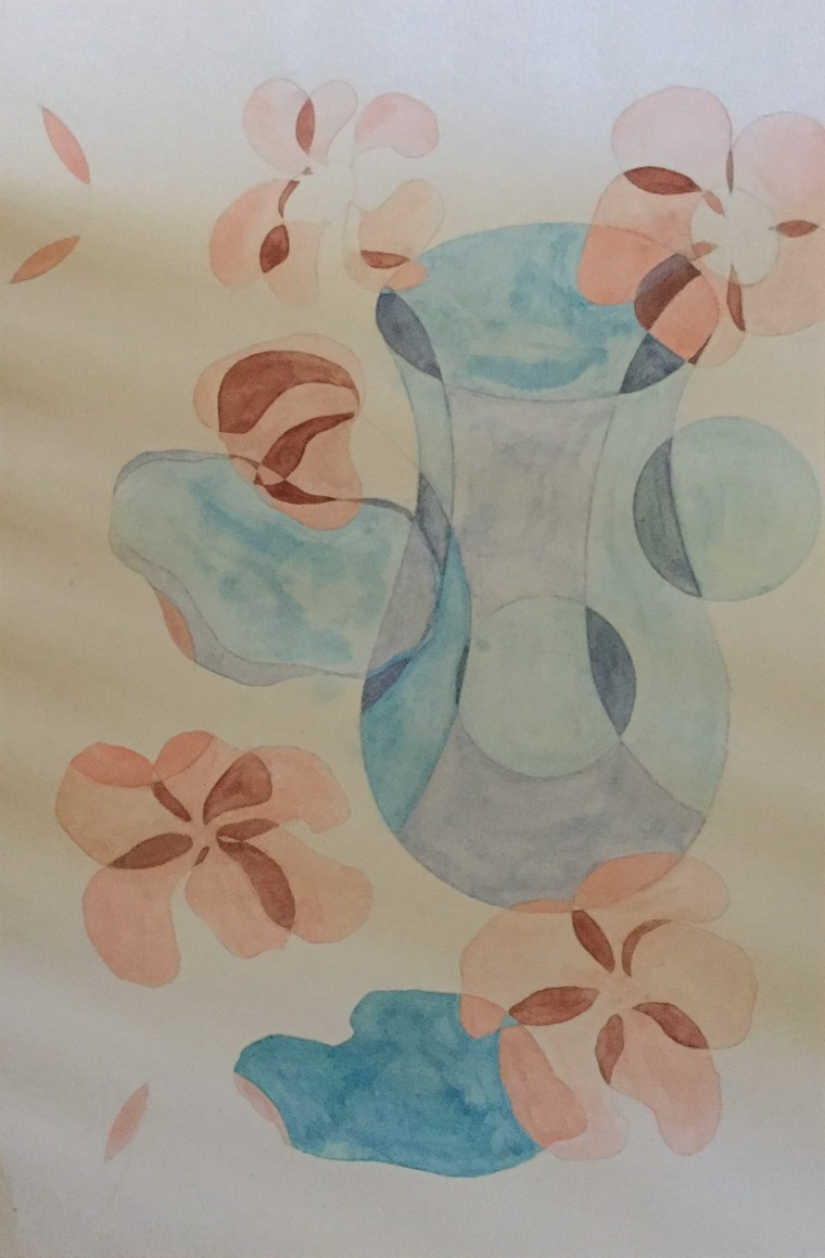 """Flowers 090518, 12"""" x 18,"""" Water color on paper"""